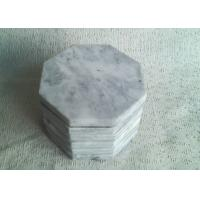 Quality Set 6 Solid Plain Stone Coasters Octagon Eight Sided White Color With Vein for sale