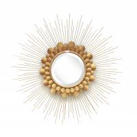 Quality Gold leaf finish  metal frame sunburst wall mirror with iron decoration for home for sale