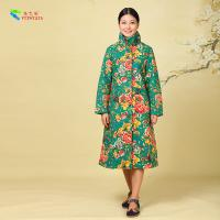 Quality Custom Cotton Winter Clothing Ladies Long Padded Winter Coats Green Label Flower Pattern for sale