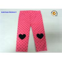 Quality Knee Heart Applique Cute Baby Girl Leggings Heart Printed Lycra Jersey Pant for sale