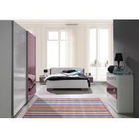 Quality European Red and White High Gloss Home Bedroom Furniture With Mirror Sliding Wardrobe for sale