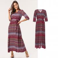 China Newest Design Women Boho Maxi Dress with Button Panel on sale