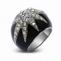 Quality Fashionable Rings with Rhodium Plating and Crystal, OEM Orders are Welcome for sale