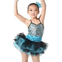 Quality MiDee Costume Sequin Top Multi Colors Tires Tutus with Ruffled Hem Wide Waistbands Dance Competitions Dress for Girls. for sale