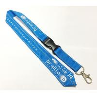 China Polyester Blue Reflective Personalised Lanyards White Logo Safety Buckle Metal Hook on sale