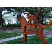 Quality Contemporary Metal Garden Ornaments Animals / Metal Dog Sculpture Welding Craft for sale