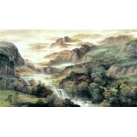 Water base chinese traditional landscape watercolour wall for Mural de chine