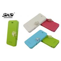 China iPhone 5C Leather Cell Phone Cases with Camellia Jewelry Stand PU Wallet Cover on sale