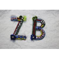 China Letter patches Glass strass beads with sequins handmade patches on sale