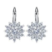 China Shiny Silver Color Cubic Zirconia Jewelry Dangle Earrings , CZ Stone Jewellery on sale