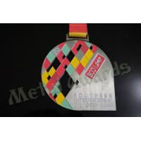 Quality BJJ Logo Zinc Allaoy Custom Sports Medals With Sublimated Ribbon Die Cast  Process for sale