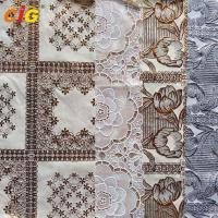 Quality Metallic Printed PVC Lace Tablecloth with Various Flower Desgins for sale
