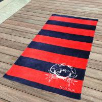 Quality Awesome Kids Swimming Towels Red and Navy Striped Seashell Beach Towels for sale
