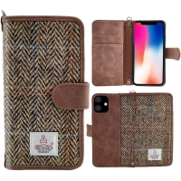 China Phone Protective Case for iPhone 11 6.1 Inch Brown Harris Tweed Wallet Flip Cover on sale