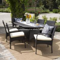 Quality Patio Furniture Outdoor 7pc Multibrown PE Wicker Long Dining Set for sale