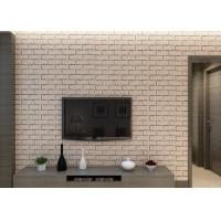 Buy Khaki Color 3D Brick Effect Wallpaper Removable for Sitting Room , Vinyl at wholesale prices