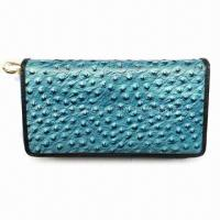 China Women's Wallet, Made of Cow Leather in Ostrich Grain, Blue on sale