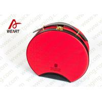 Buy cheap Customized Red Round Makeup Organizer Box , Leather Handle Cosmetic Pouch Bag from Wholesalers