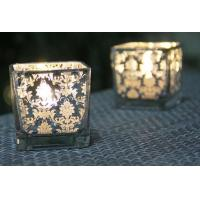 Quality Square Printing Glass Votive Holders Various Size OEM For Home Decoration for sale