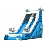 Quality Blue Dolphin Toddler Inflatable Slide , Commercial Inflatable Water Slides Digital Printing for sale
