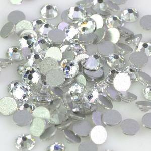 China Round Shape Non Hotfix Rhinestones , 14 Facets Flat Back Crystal Rhinestones on sale