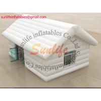 Quality inflatable air tight 0.6mm pvc tarpaulin small house white tent for sale