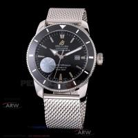 China Perfect Replica Breitling Superocean Black Dial Black Ceramic Bezel Stainless Steel Band 42mm Watch for sale