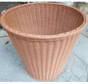 Quality wholesale 60cm PE Rattan storage Baskets Plastic Laundry Hamper Hotel bathroom baskets Handmade clothes towel basket for sale