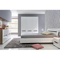 Quality Alkali Resistant 3 Door Mirrored Wardrobe With Khaki High Gloss Bedroom Set for sale