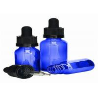 Portable Blue Glass Dropper Bottles Multifunctional High Durability With Even Thickness