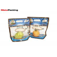 Quality Custom Printing Vegetable Preserving Bags , Clear Handle Fruit Packaging Bags With Zipper for sale