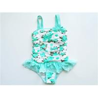 China Young Girls One Piece swimwear/Little girl baby Floral Print White Swimsuits Wide Strap on sale