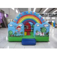 Quality Outdoor Rainbow Farm Kids Inflatable Bounce House 0.55mm PVC 3 X 2m For Party for sale