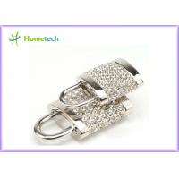 Quality 256MB / 512 MB / 1GB Silver Diamonds Gadget Crystal Lock USB Flash Drive Real Capacity for sale