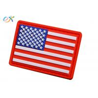 China Embossing Military USA flag Soft PVC Rubber Patch With Loop and Hook Backing for sale