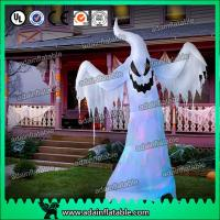 Quality Halloween Inflatable Decoration 3M Oxford Inflatable White Ghost With LED Light for sale
