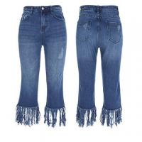 Quality Ladies 5 pocket jeans with fringes on bottom for sale