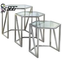 Hexagon shape restaurant buffet table with tempering glass for Table 99 restaurant