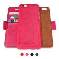 Pink Leather Detachable Folio Flip IPhone 6 Wallet Case Credit Card Holder Shockproof