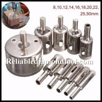 China Straight Shank Electroplated Diamond Drill Cutter / Glass Hole Saw Size 5-155mm on sale