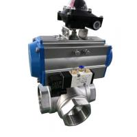 Quality Sanitary 3 Ways Ball Valve with Pneumatic Double Acting Actuator for sale
