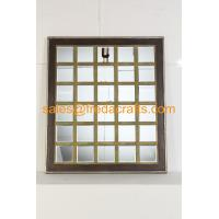 Quality China supplier mordern design grid shape wood frame wall mirror for home decor for sale