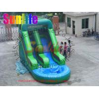 Quality Attractive Fire Retardant Outdoor Inflatable Water Slides For Ground Pools Grade 0.55mm for sale