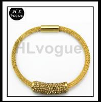 China Fashion LongChain with Crystal Tube Charm Stainless Steel Mesh Gold Necklace for Christmas on sale
