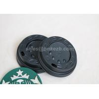 Quality LOGO Printing 8oz Black Plastic Lids For Paper Cups / Hot Coffee Cups for sale