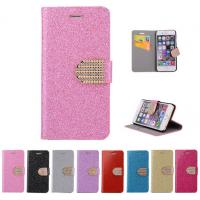 Glitter PU leather wallet Case For iPhone 4 5s 6 plus 7 SAMSUNG galaxy s5 s4 S6 S7 NOTE 7 3 5