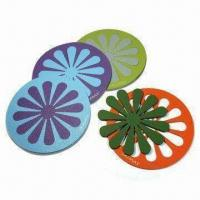 Buy cheap Placemats and Coasters, Made of Natural Rubber, Measures 18cm x 18cm x 4mm from wholesalers