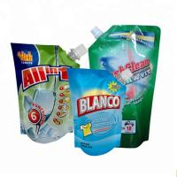 Quality spout pouch packaging Plastic liquid laundry detergent spout pouch washing powder packaging bag for sale