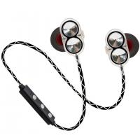 China VIDAR Dual Drivers Speakers necklace Earphones with Mic Suitable for iPhone and Android Devices Silver & Gloden colors on sale