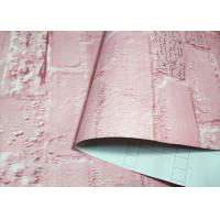 Buy Pink Washable Self Adhesive Brick Wallpaper Environmental Dustproof at wholesale prices